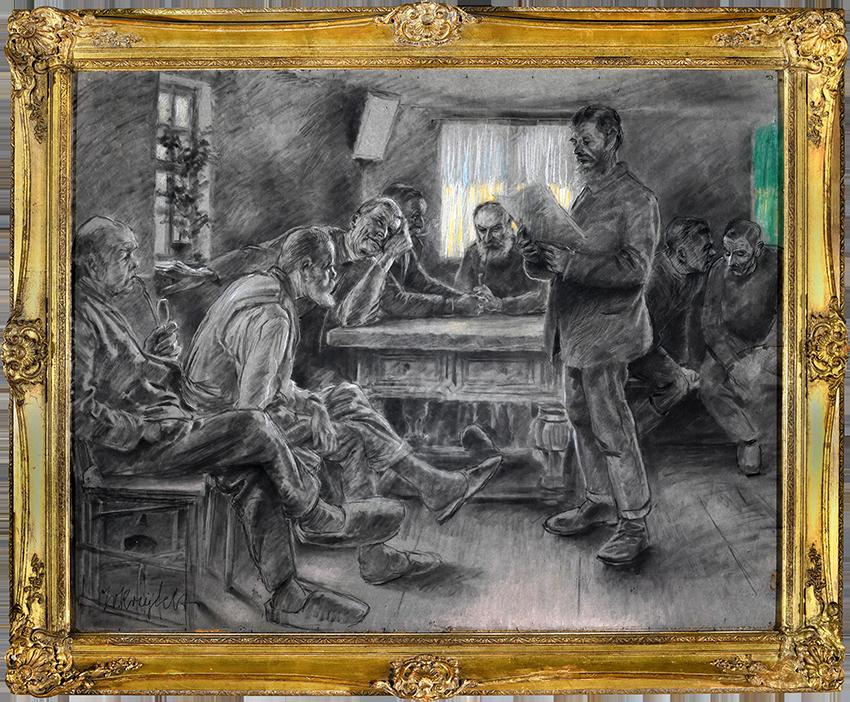 """Zeichnung des Künstlers Julius von Kreyfelt, der """"Gemeinderat von Kleinsassen"""" (1923)"""