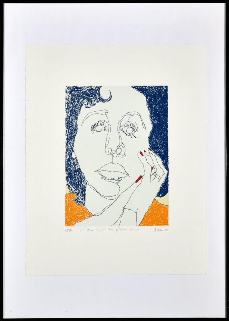 """""""Die Bluessängerin ohne goldenen Mund"""", Siebdruck, 50 x 40 cm, Inv.-Nr. 1000/144, Kaufpreis 150 €, jährliche Leihgebühr 36 €"""