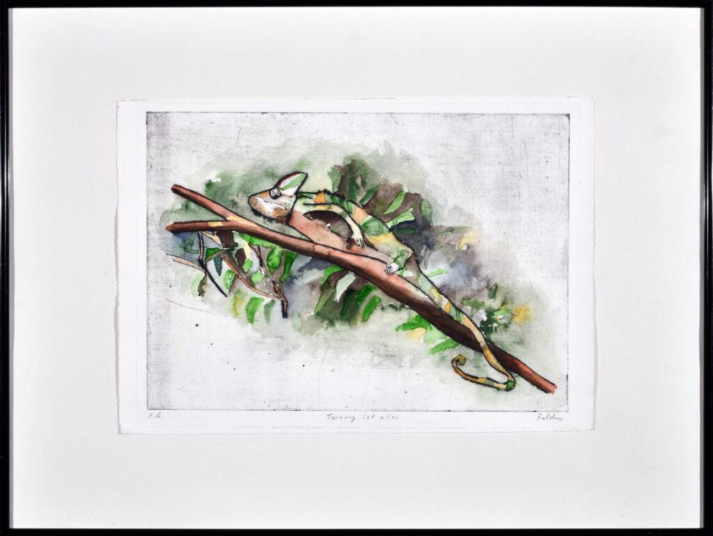 """""""Tarnung ist alles"""", 37 x 54 cm, Kaltnadel-Radierung/Aquarell, Inv.-Nr. 1020/247, Kaufpreis 450 €, jährliche Leihgebühr 36 €"""